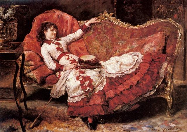 Eduardo Le_n Garrido - An Elegnat Lady in a Red Dress