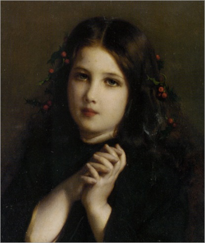 Piot_Adolphe_A_Young_Girl_With_Holly_Berries_In_Her_Hair