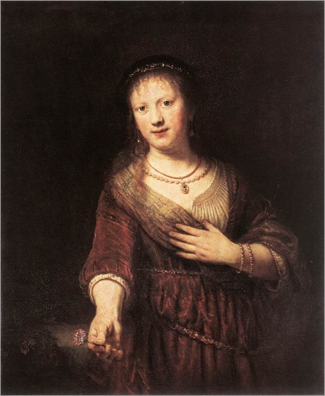 Rembrandt-Portrait-of-Saskia-with-a-Flower