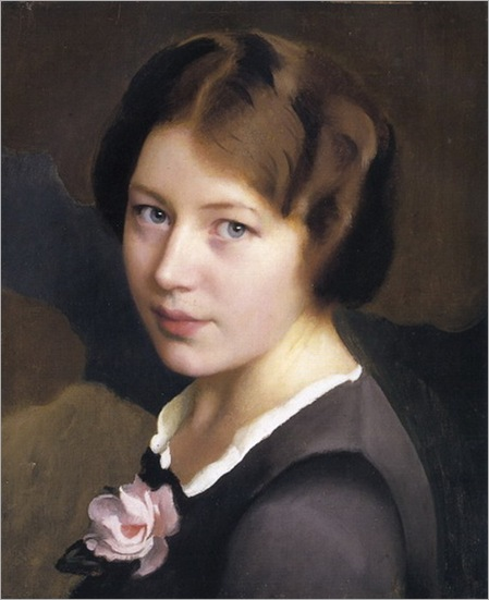 William_McGregor_Paxton__Girl_With_A_Pink_Rose