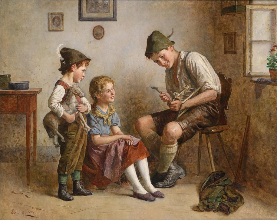 Edmund Adler (Vienna 1876 – 1965) «Repairing the Little Cart»