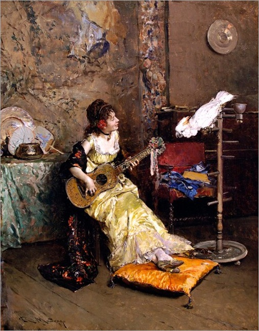 Madrazo y Garreta, Raimundo de (1841-1920) - Girl With A Guitar and Parrot