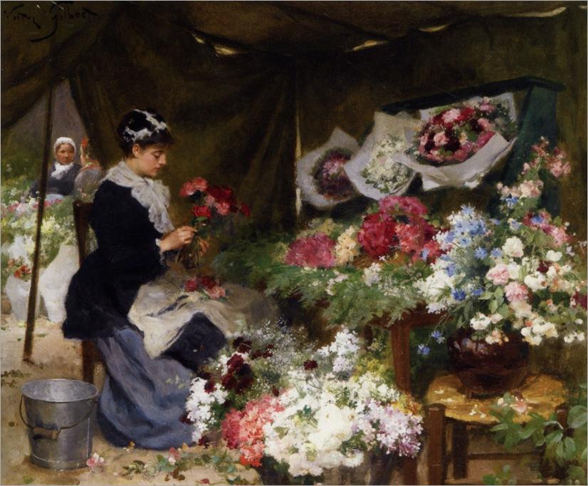 Gilbert_Victor_Gabriel_A_Flower_Seller_Making_Her_Bouquets
