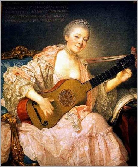 Greuze, Jean-Baptiste (1725-1805) - Ann Marie Bezin with Guitar, 1758