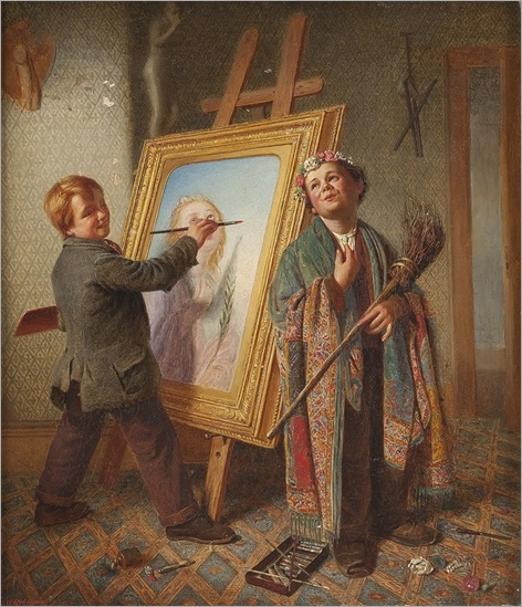 Matthew Robinson (1856 – 1884) «Young artists at work»