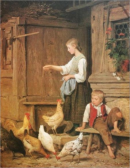 AlbertAnker_Mädchen_Hühner_fütternd_1865