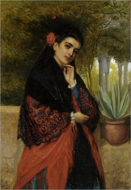 Burgess_John_Bagnold_A_Spanish_Beauty_in_a_Red_And_Black_Lace_Shawl_1892