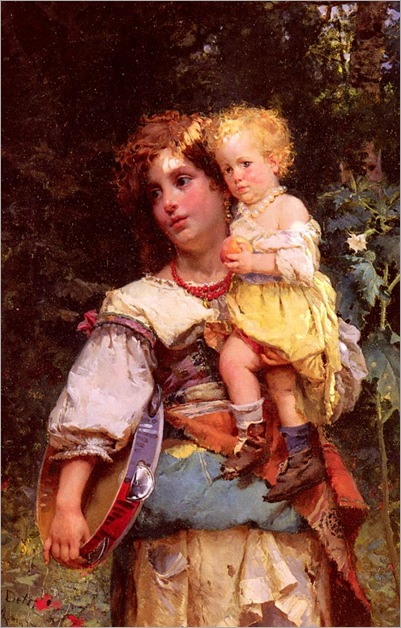 Detti-Cesare-Auguste-Gypsy-Woman-And-Child