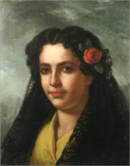George_Henry_Hall_-_Portrait_of_a_Spanish_Woman_with_a_Lace_Shawl_and_Rose,_1866