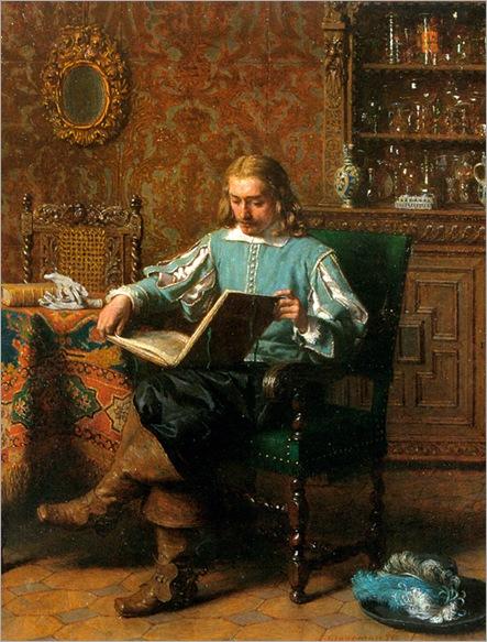 LambertusLingeman_a_cavalrist_reading_in_a_17th_century_interior(1829-1894)