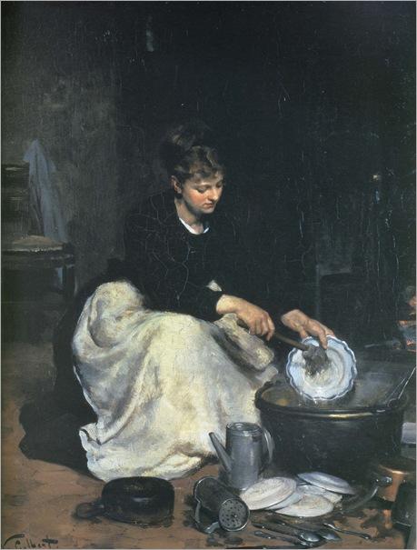victor gabriel gilbert, la cuisinière ou la laveuse de vaisselle