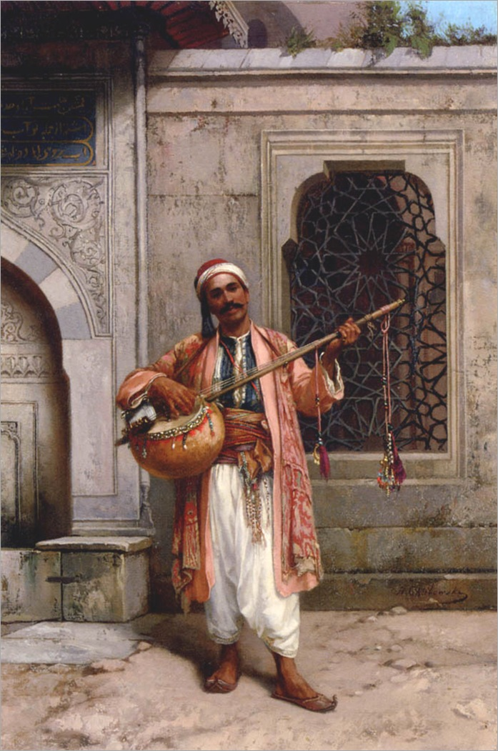 Chlebowski-Stanislaus-Von-A-Musician-Playing-Before-A-Mosque-In-Constantinople