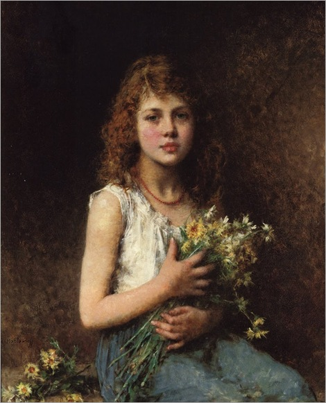Harlamoff_Alexej_Alexejewitsch_Girl_With_Spring_Flowers_Oil_On_Canvas-large