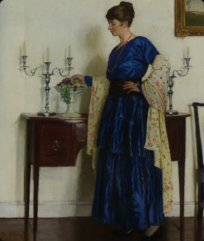 Harvey_Harold_Woman_By_The_Sideboard_Portrait_of_The_Artists_Wife_Gertrude_1917