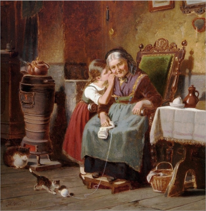Hermann_Werner_German_1816__1905_Whispering_to_Grandma