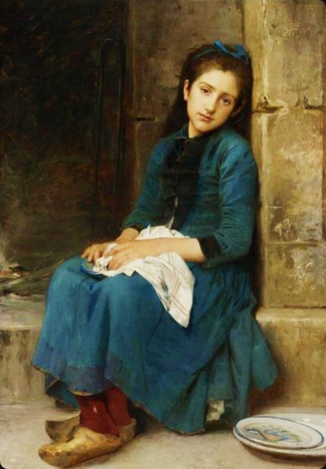 Léon Perrault Pensive girl.