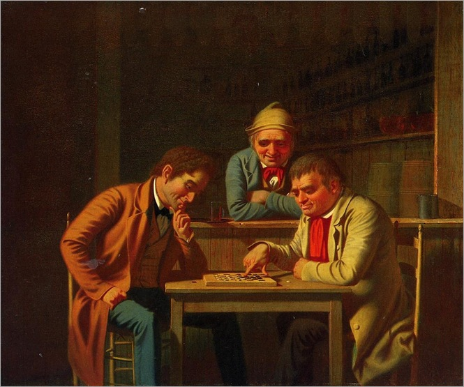 The Checker Players-george-caleb-bingham