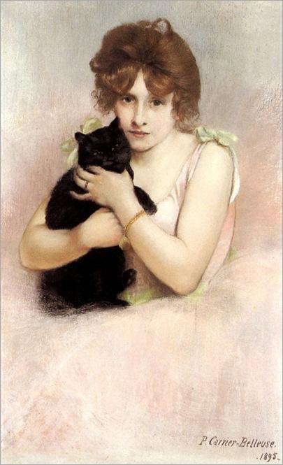 1895_Carrier_Belleuse_Pierre_-_Ballerina_Holding_A_Black_Cat