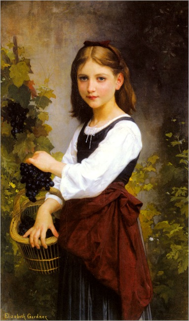 A Young Girl Holding a Basket of Grapes-elizabeth-bouguereau
