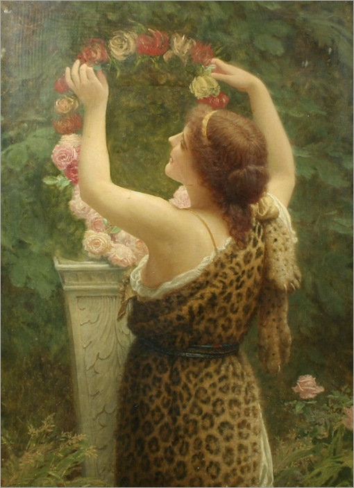 charles_edward_perugini_-_woman_with_a_floral_wreath_in_a_leopard_dress