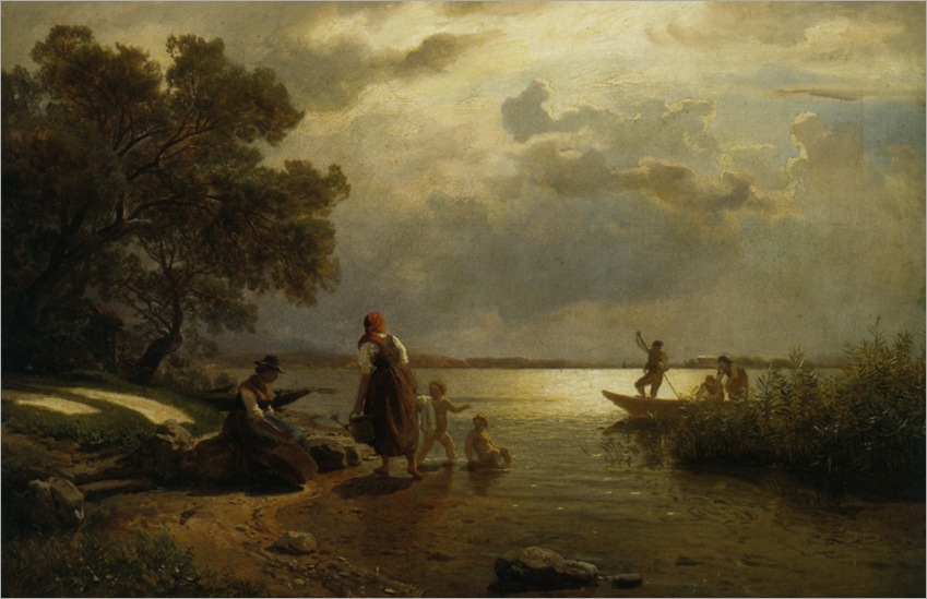 Gude_Hans_Frederick_Mothers_and_Childred_on_The_Shore_of_Lake_Chiemsee_Bavaria_1868_1
