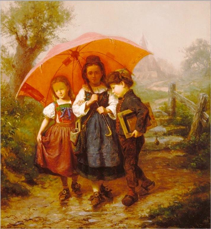 Henry_Mosler_Children_under_a_Red_Umbrella_1865