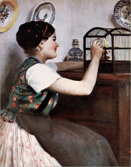 Pap, Emil (1844 - ) Young Wife with a Bird