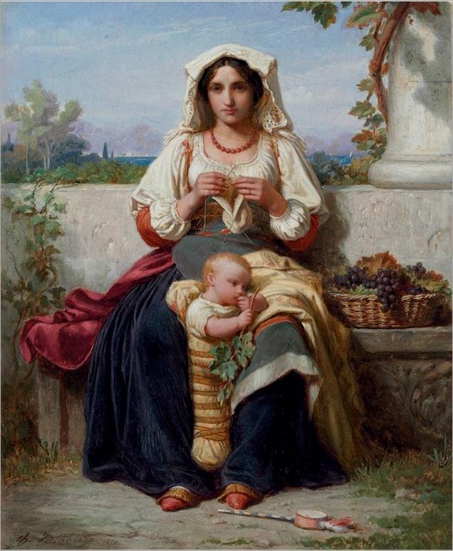 Charles Francois Jalabert (Nimes 1819-1901 Paris) Jeune Mere Italienne 1850