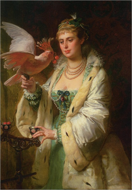 Dubufe_Edouard_Marie_Guillaume_A_Treat_For_Her_Pet_1871