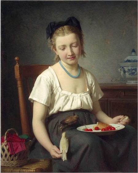 Emile Auguste Hublin «Treats for the birds» 1870