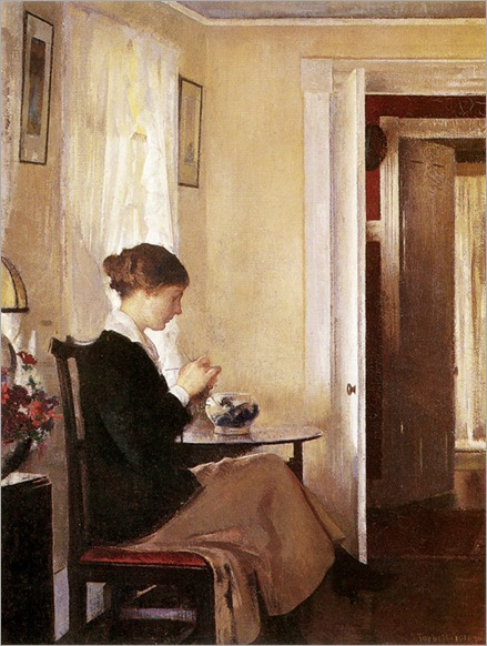 Josephine Knitting by Edmund Tarbell