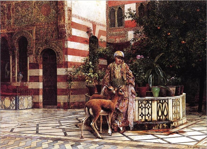 Weeks_Edwin_Lord_Girl_in_a_Moorish_Courtyard