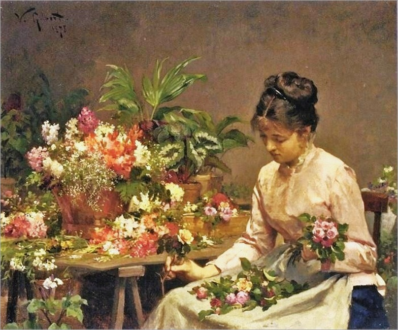 14 Victor-Gabriel Gilbert (American artist, 1847-1933) The Flower Seller