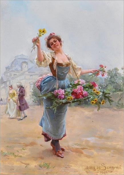 Louis Marie de Schryver (French 1862-1942) The flower seller