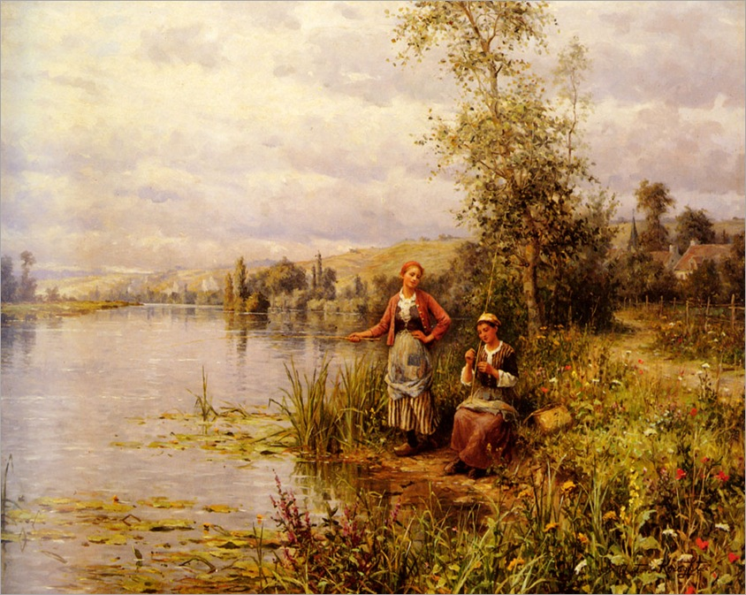 LouisAstonKnight_country_women_fishing_on_a_summer_afternoon