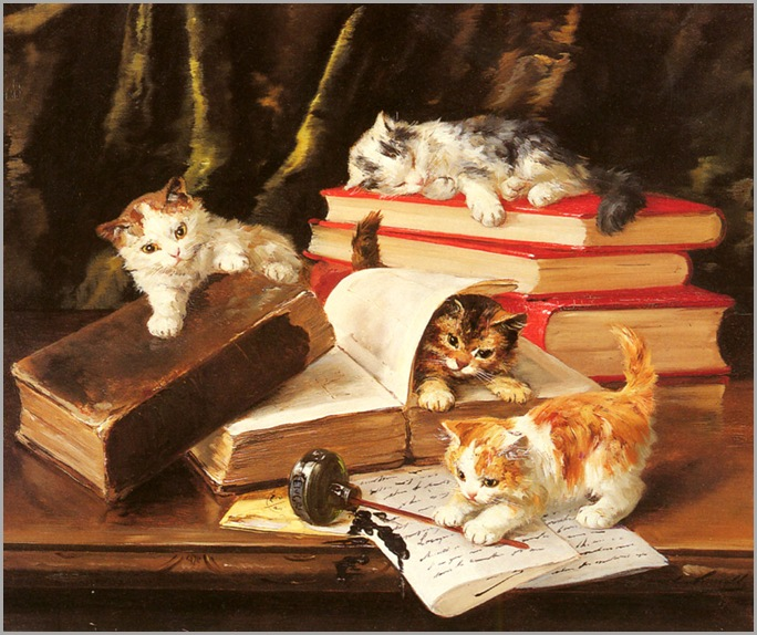 AlfredBrunelDeNeuville_kittens_playing_on_a_desk