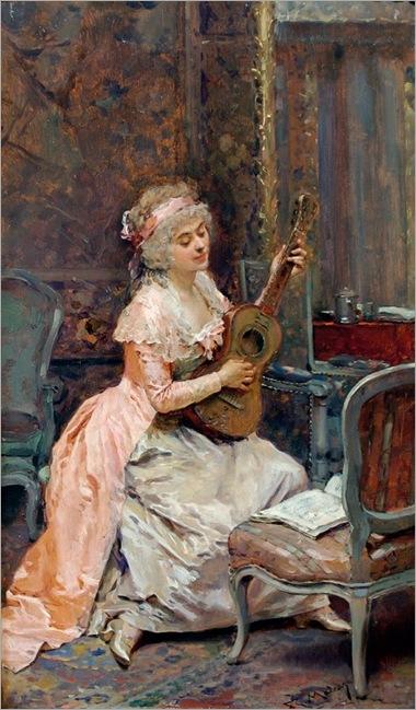 Madrazo y Garreta, Raimundo de (1841-1920) - Lady With A Guitar