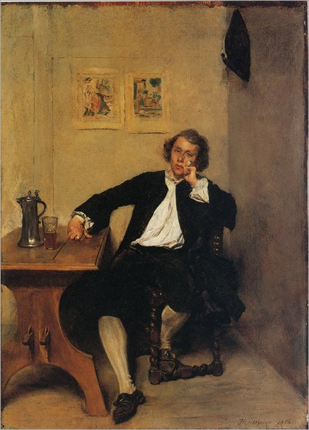 1854 A Man in Black smoking a Pipe-meissonier
