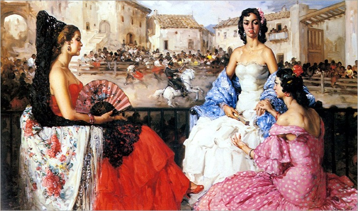 Clement_Francisco_Rodriguez_San_Elegant_Woman_Watching_A_Bull_Fight