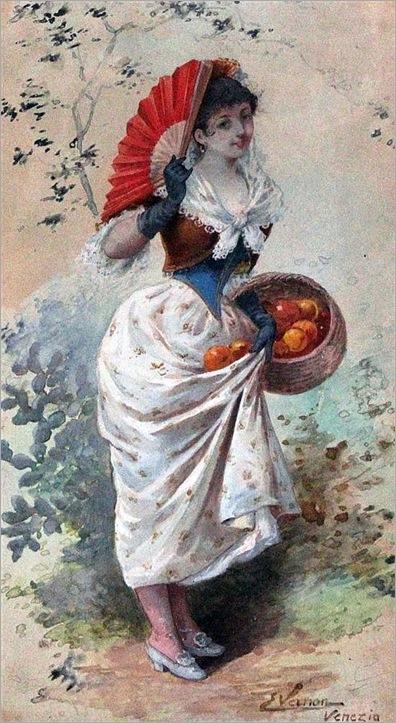 emile-vernon-watercolor-a-venetian-orange-seller