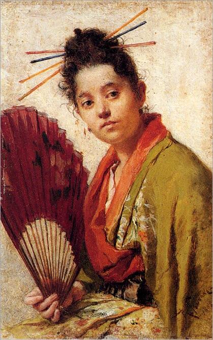 Fontano-Roberto-A-Young-Girl-Holding-A-Fan