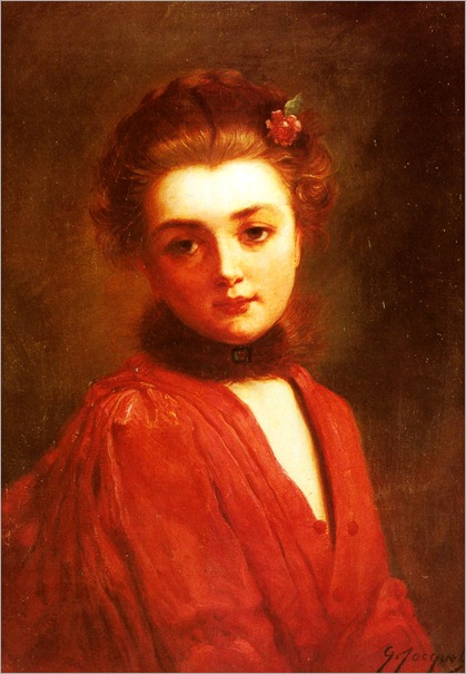 GustaveJeanJacquet-portrait_of_a_girl_in_a_red_dress