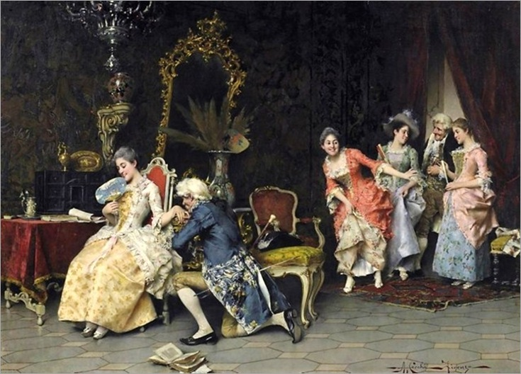 Adriano Cecchi - Galante advertisement_ Distinguished society with the game in the salon (2)
