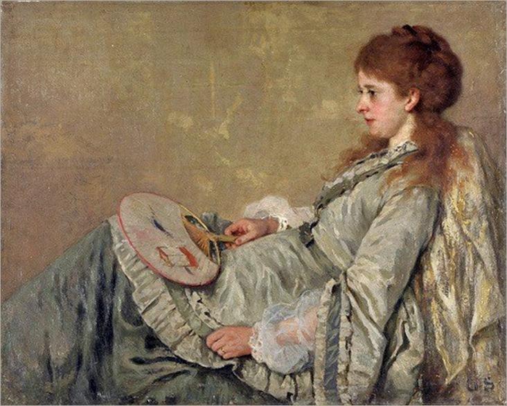 Otto Franz Scholderer (German painter, 1834-1902) Luise Steurwaldt Scholderer, the artist's wife 1873