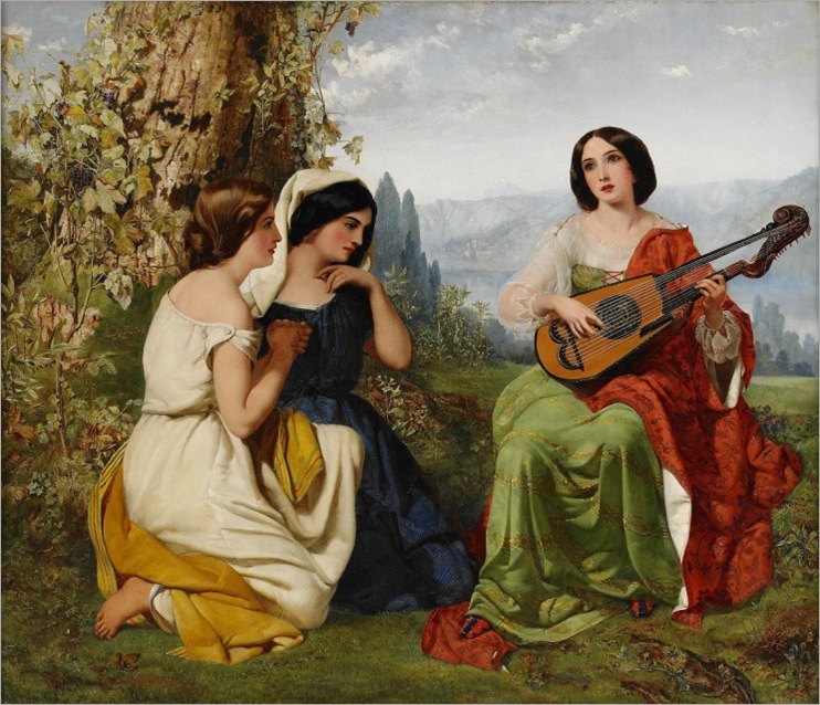 Pickersgill, Frederick Richard (1820-1900) - A romantic scene with girl playing lute, 1850