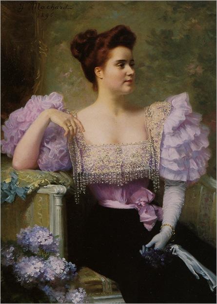 Machard_Jules_Louis_Jeune_Femme_En_Tenue_De_Soiree_assise_Pres_dun_Bouquet_DHortensias_1895