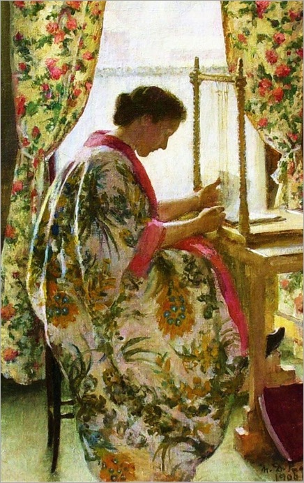 Marie Danforth Page (American painter, 1869-1940) The Bookbinder 1905