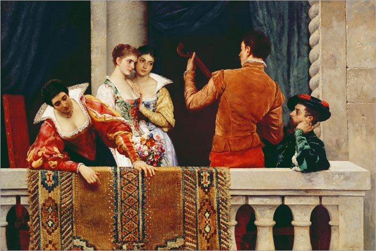 eugen-von-blaas-on-the-balcony-