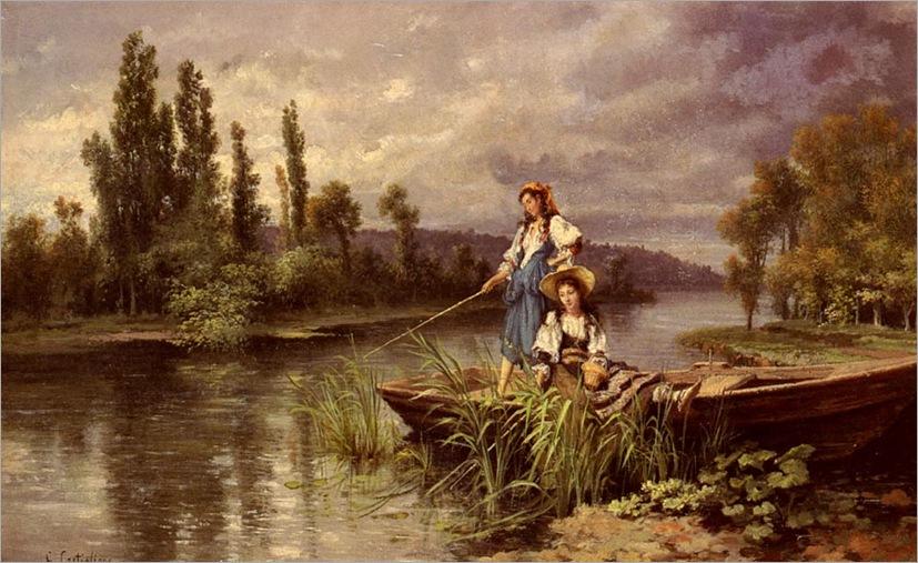 Castiglione_Giuseppe_On_The_River_At_Dusk