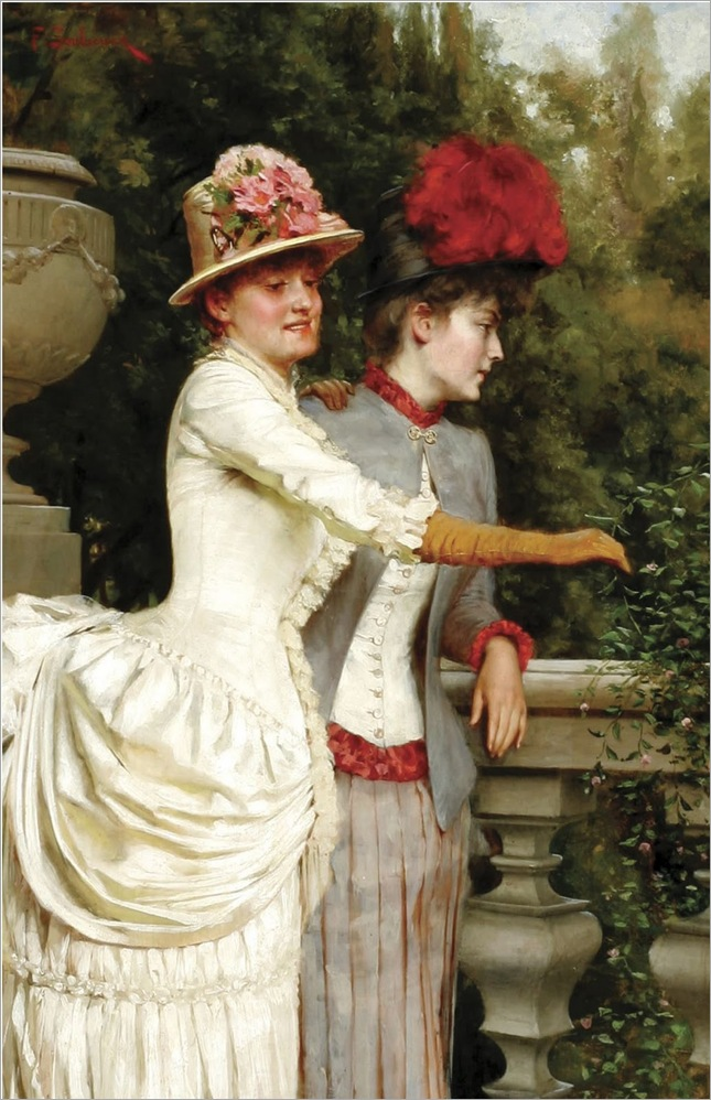CHARLES JOSEPH FREDERIC SOULACROIX (French 1825- 1879). Women on a Balcony. 1